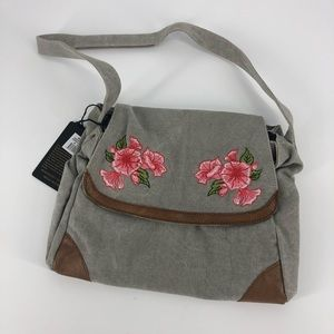 Mona B gardenia shoulder bag.  Embroidered flowers
